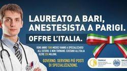 """""""Laureata a Milano, medico a Berlino. Offre l'Italia"""". I manifesti a Bari contro i cervelli in"""