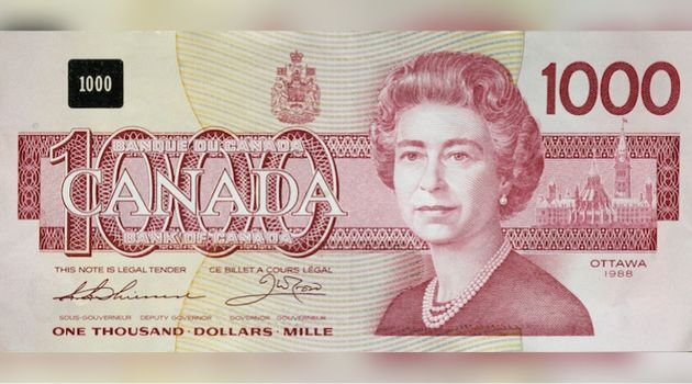 This $1,000 Canadian bank note, which features Queen Elizabeth, was issued in 1988. The Bank of Canada...