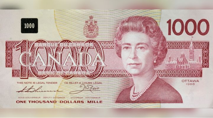 This $1,000 Canadian bank note, which features Queen Elizabeth, was issued in 1988. The Bank of Canada decided to stop issuing the bank note in 2000.