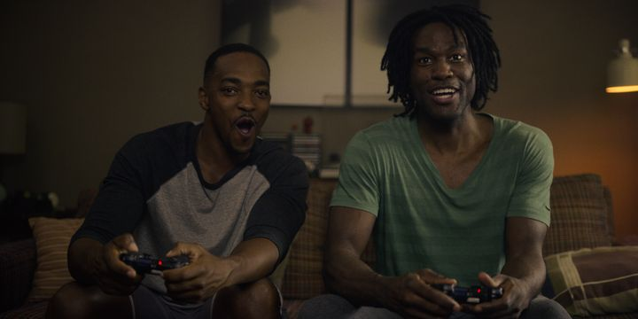 "Anthony Mackie and Yahya Abdul-Mateen II in ""Striking Vipers."""