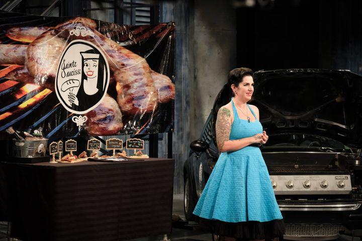 Karine Bonneau est allée présenter son entreprise Sainte-Saucisse à l'émission <em>Dans l'oeil du dragon</em>.