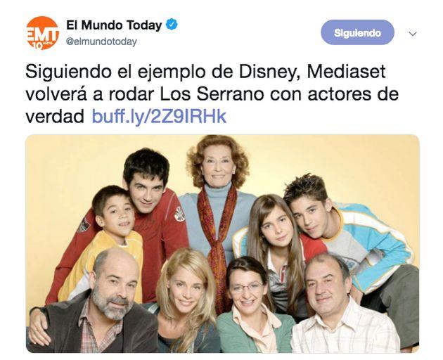 Fran Perea responde a este tuit de 'El Mundo Today' sobre 'Los Serrano': el aplauso es