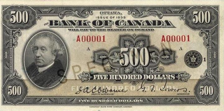 This $500 bank note, which was issued in 1935, is one of the rarest forms of paper money ever produced in Canada.