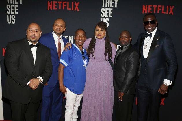Director Ava DuVernay, with the men known as the Central Park Five: Raymond Santana, Kevin Richardson,...