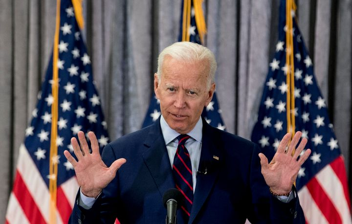Former Vice President Joe Biden, a 2020 Democratic presidential hopeful, speaks during a town hall meeting with a group of ed