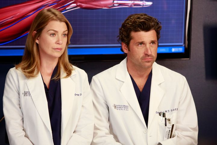 "Ellen Pompeo and Patrick Dempsey pictured together during the ninth season of ""Grey's Anatomy."""