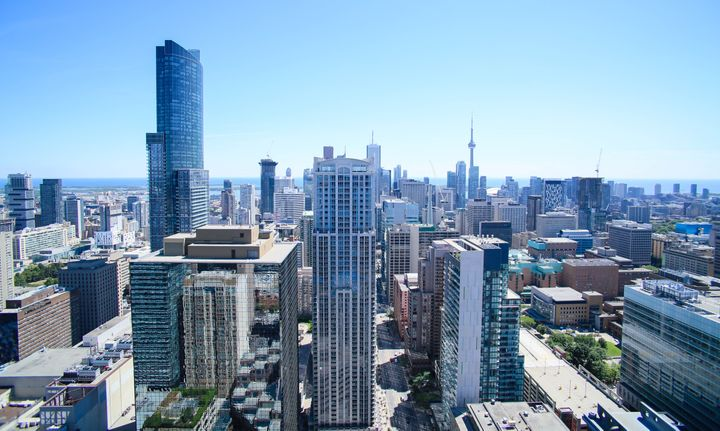An aerial view of downtown Toronto, looking south from the Bloor-Yonge area.