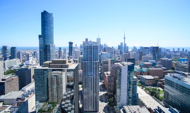 An aerial view of downtown Toronto, looking south from the Bloor-Yonge
