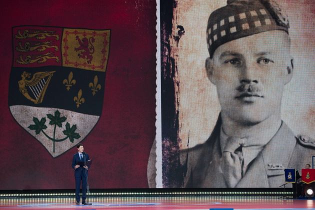Prime Minister Justin Trudeau speaks during a ceremony to mark the 75th Anniversary of...