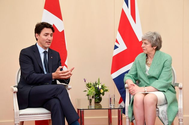 Prime Minister Justin Trudeau meets with British Prime Minister Theresa May in Portsmouth, England on...