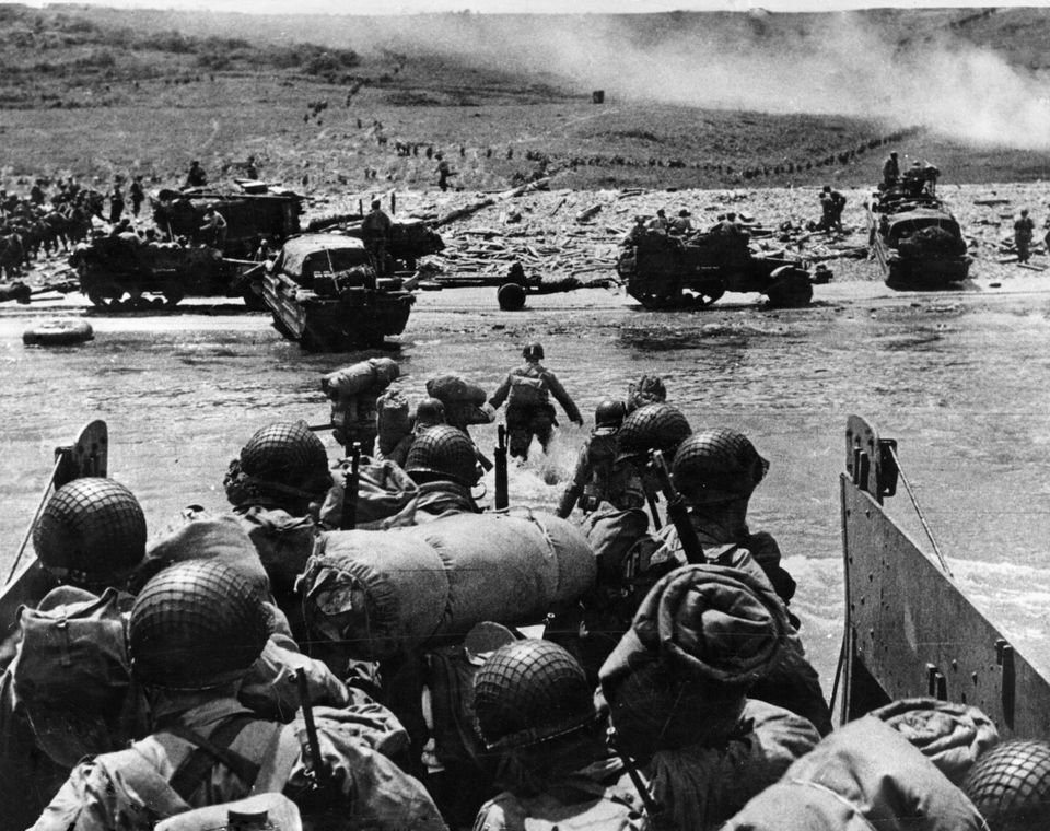The U.S. troops landing in Normandy, in the area with the code name Omaha Beach. Normandy, 6 July 1944 (Photo by Mondadori Portfolio via Getty Images)