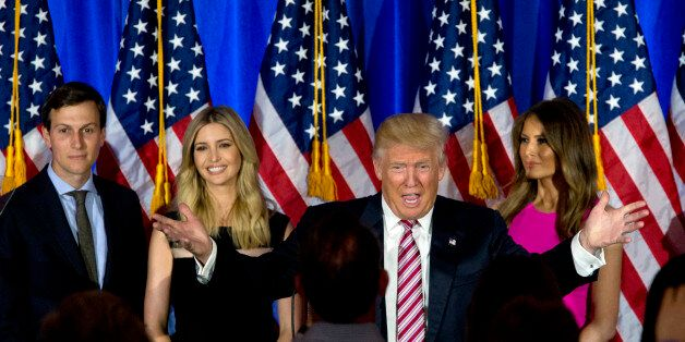 Republican presidential candidate Donald Trump is joined by his wife Melania, daughter Ivanka and son-in-law Jared Kushner as