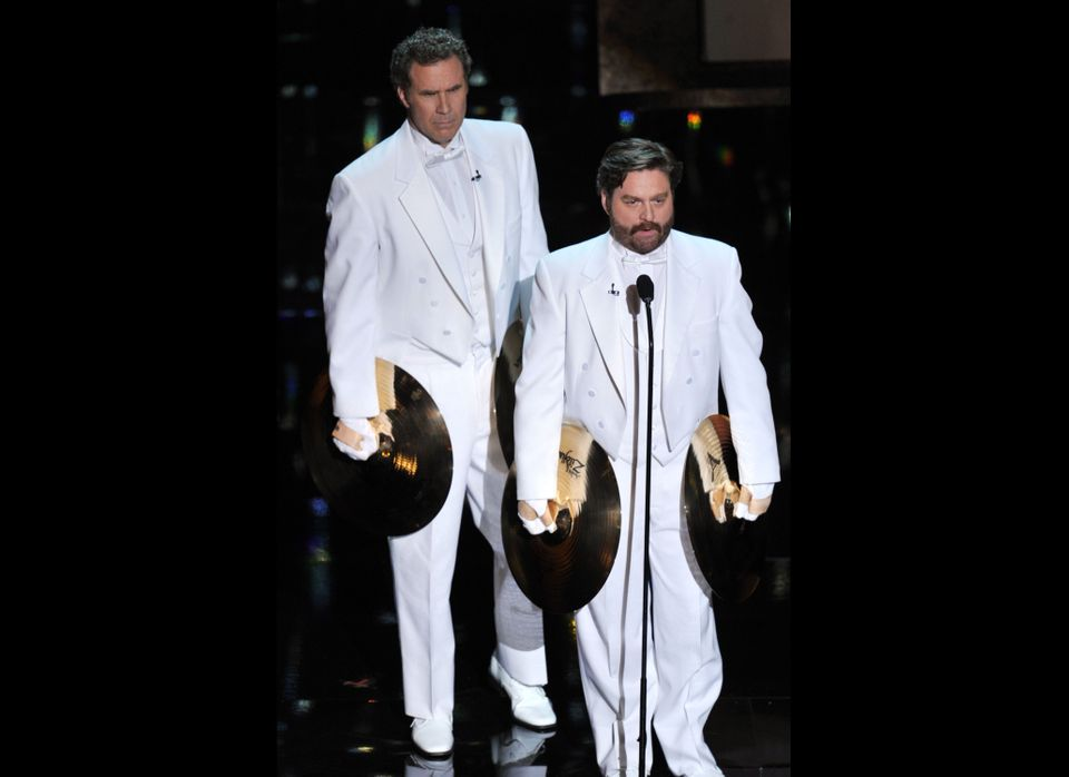 Presenters Will Ferrell (L) and Zach Galifianakis speak onstage during the 84th Annual Academy Awards held at the Hollywood &