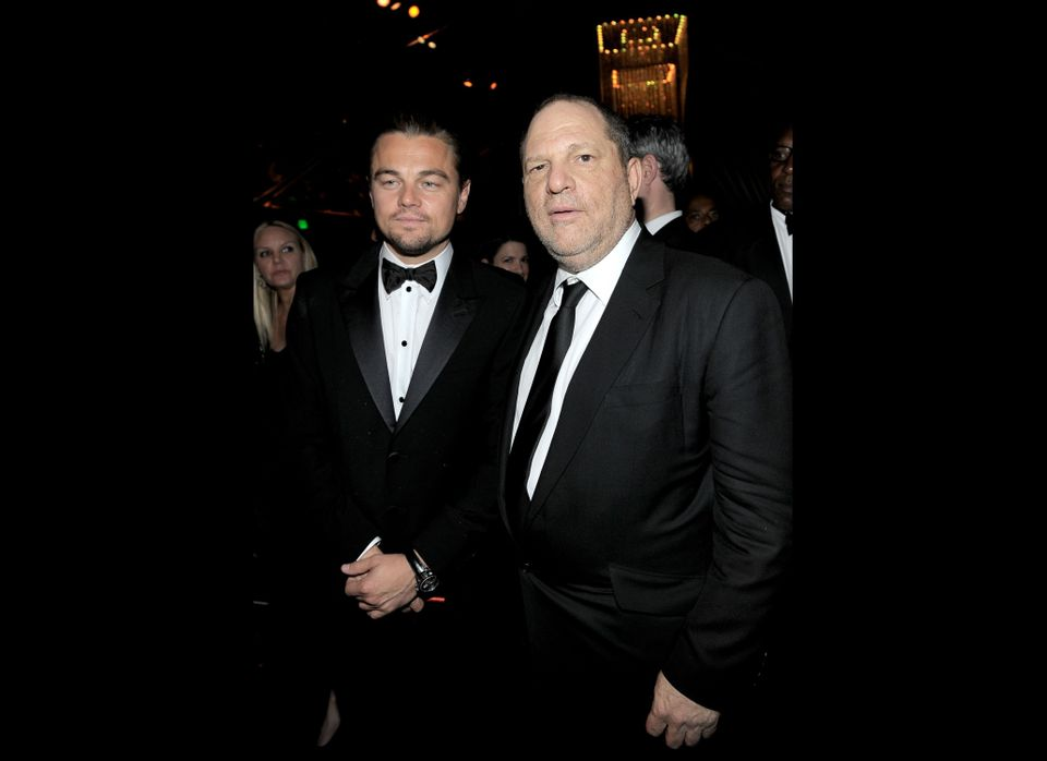 BEVERLY HILLS, CA - JANUARY 15:  Actor Leonardo DiCaprio (L) and Producer Harvey Weinstein attend The Weinstein Company's 201