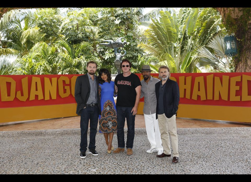 CANCUN - April 15: In this handout image provided by Sony,  Leonardo DiCaprio, Kerry Washington, Quentin Tarantino, Jamie Fox