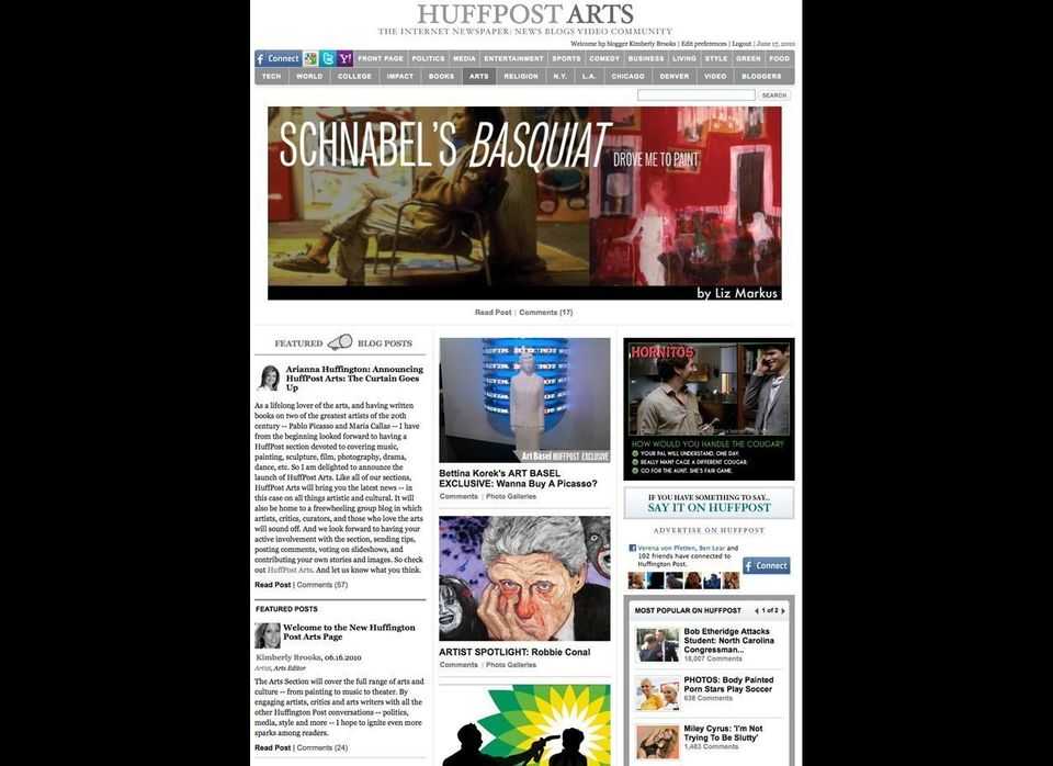 Arianna Huffington announces the launch of the Huffington Post Arts section with Artist Kimberly Brooks as its editor in <a h