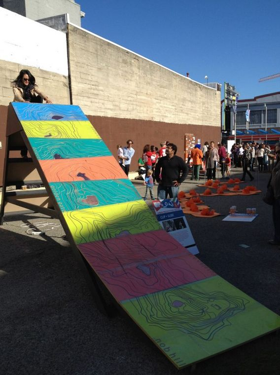 SF District 6 Supervisor Jane Kim takes a ride down the Clip + Slide!
