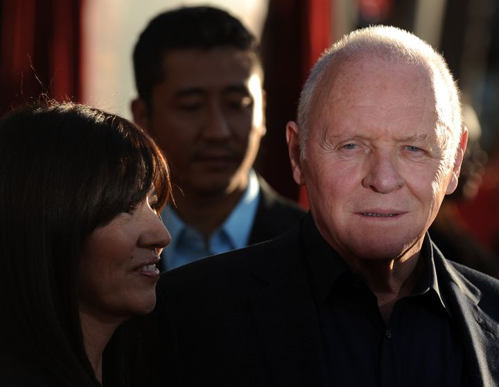 Actor Sir Anthony Hopkins arrives with his wife, actress Stella Arroyave at the premiere of Thor in Hollywood, California on May 2, 2011. AFP PHOTO / GABRIEL BOUYS (Photo credit should read GABRIEL BOUYS/AFP/Getty Images)