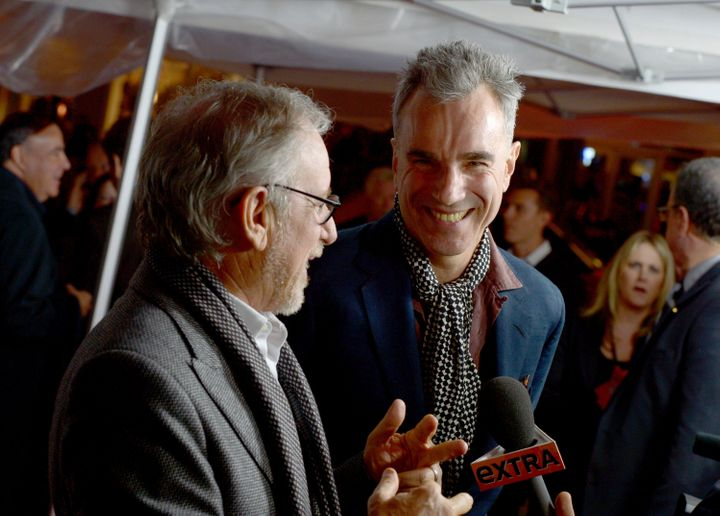 HOLLYWOOD, CA - NOVEMBER 08:  Director Steven Spielberg (L) and actor Daniel Day-Lewis arrive at the 'Lincoln' premiere durin