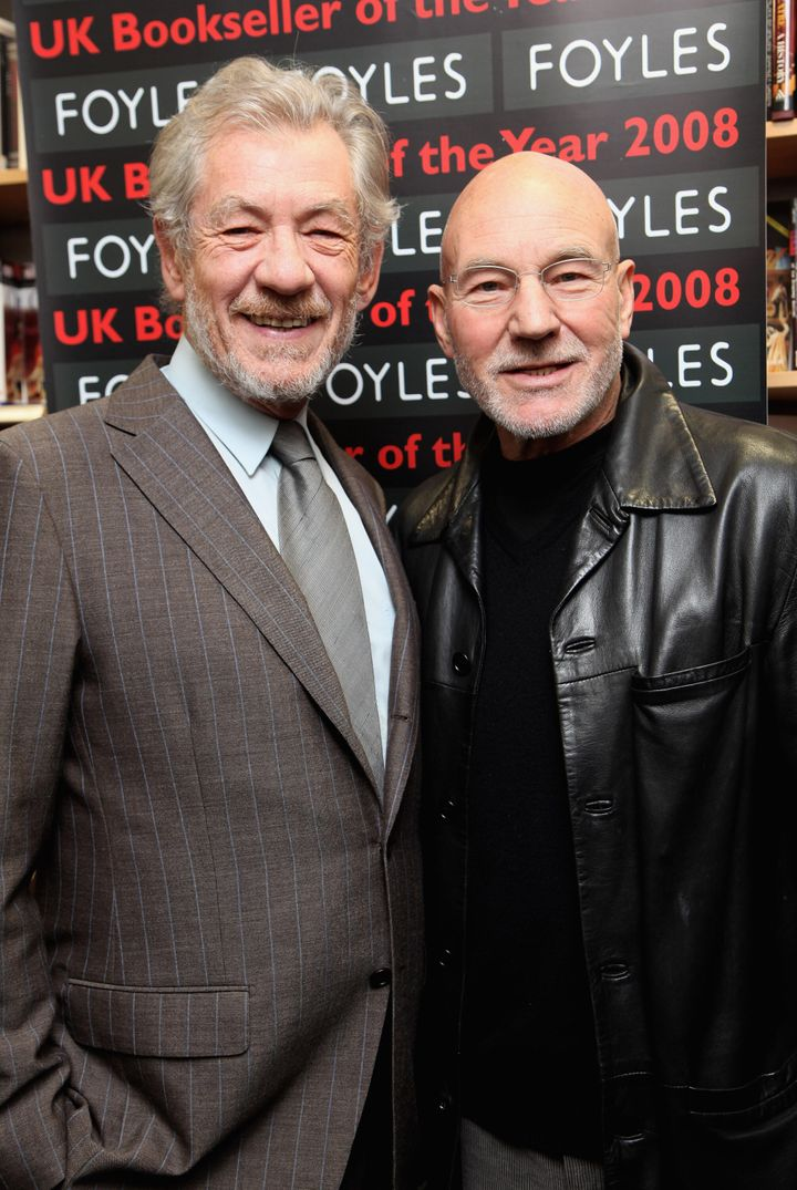 LONDON - FEBRUARY 26:  Sir Ian McKellen and Patrick Stewart pose for photos before reading from 'The Letters of Samuel Becket