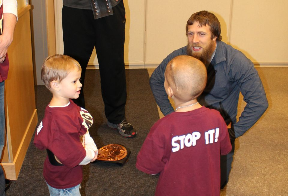 "WWE star Daniel Bryan meets with 7-year-old Connor Michalek. Michalek is currently battling cancer. <a href=""http://www.wpxi."