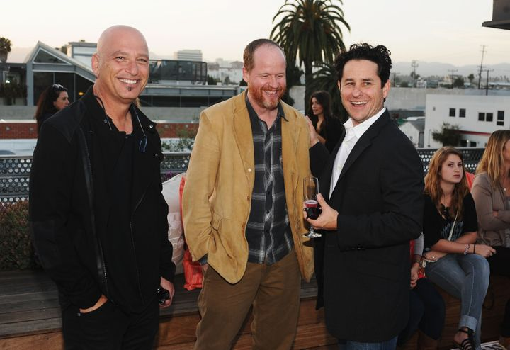 LOS ANGELES, CA - MAY 23:  (L-R) Actor Howie Mandel, director Joss Whedon and producer JJ Abrams attend an evening of cocktai