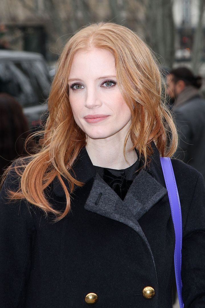 PARIS, FRANCE - MARCH 06:  Actress Jessica Chastain arrives to attend the 'Louis Vuitton' Fall/Winter 2013 Ready-to-Wear show