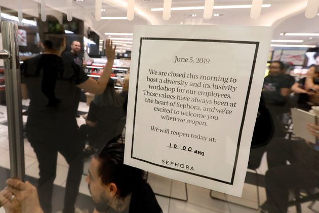 The sign at a closed Sephora store on Wednesday morning in New