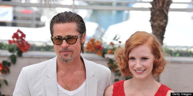 Actor Brad Pitt and actress Jessica Chastain attend 'The Tree Of Life' Photocall during the 64th Annual Cannes Film Festival