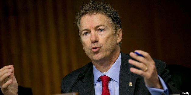 Senator Rand Paul, a Republican from Kentucky, questions witnesses during a Senate Permanent Subcommittee on Investigations h