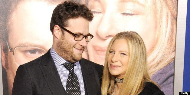 WESTWOOD, CA - DECEMBER 11:  Actors Seth Rogen and Barbra Streisand arrive at the Los Angeles premiere of 'The Guilt Trip' at