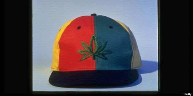 Baseball cap sporting marijuana leaf emblem is example of pot-leaf clothing fad among rockers & their fans.  (Photo by James