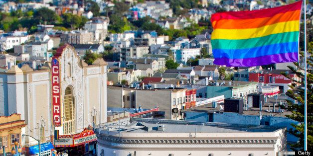 Proprietary view of the Castro neighborhood in San Francisco, CA USA. Includes the Castro rainbow flag and the Castro Theatre