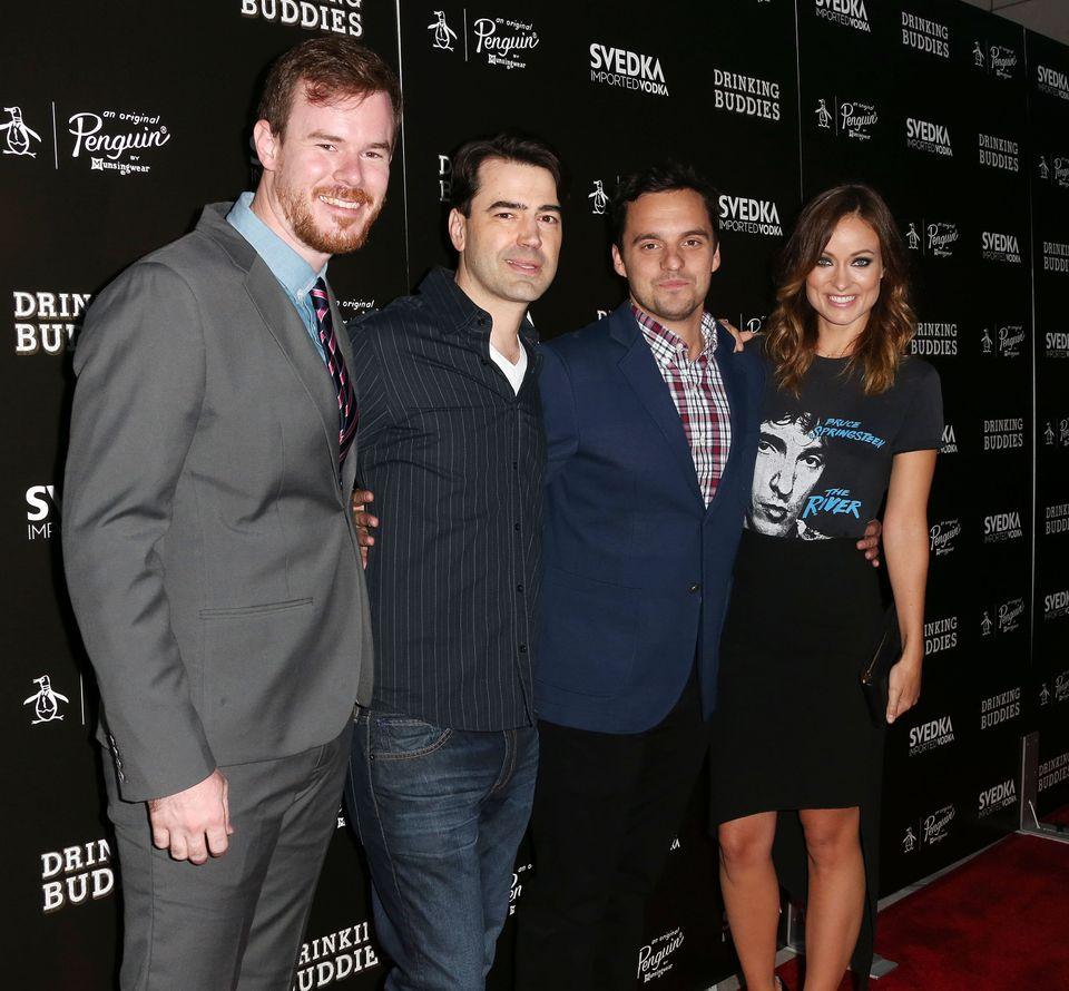 HOLLYWOOD, CA - AUGUST 15: (L-R) Director Joe Swanberg, actor Ron Livingston, actor Jake Johnson and actress Olivia Wilde att