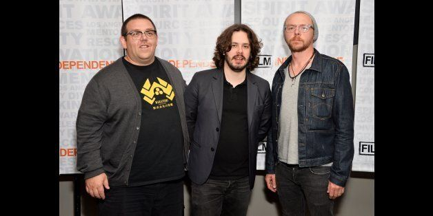 LOS ANGELES, CA - AUGUST 19:  (L-R) Actor Nick Frost, director Edgar Wright and actor Simon Pegg attend the Film Independent