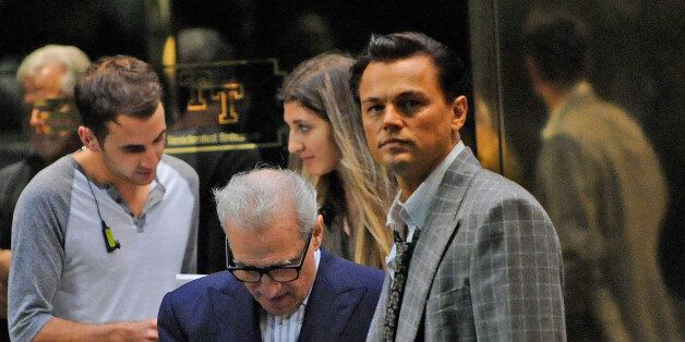 NEW YORK, NY - SEPTEMBER 28:  Director Martin Scorsese and actor Leonardo DiCaprio on the set of the film The Wolf of Wall St