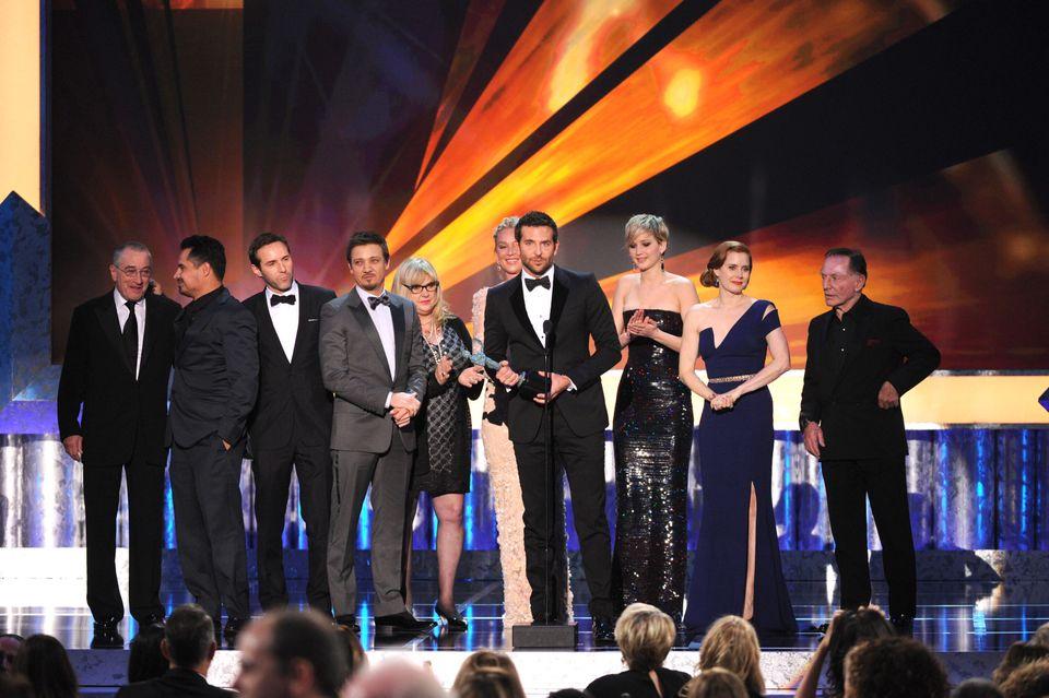From left, Robert De Niro, Michael Pena, Alessandro Nivola, Jeremy Renner, Colleen Camp, Elisabeth Rohm, Bradley Cooper, Jenn