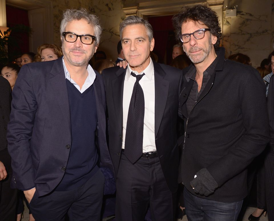 NEW YORK, NY - FEBRUARY 04:  (L-R) Director Alfonso Cuaron, actor/director/producer George Clooney, and filmmaker Joel Coen a