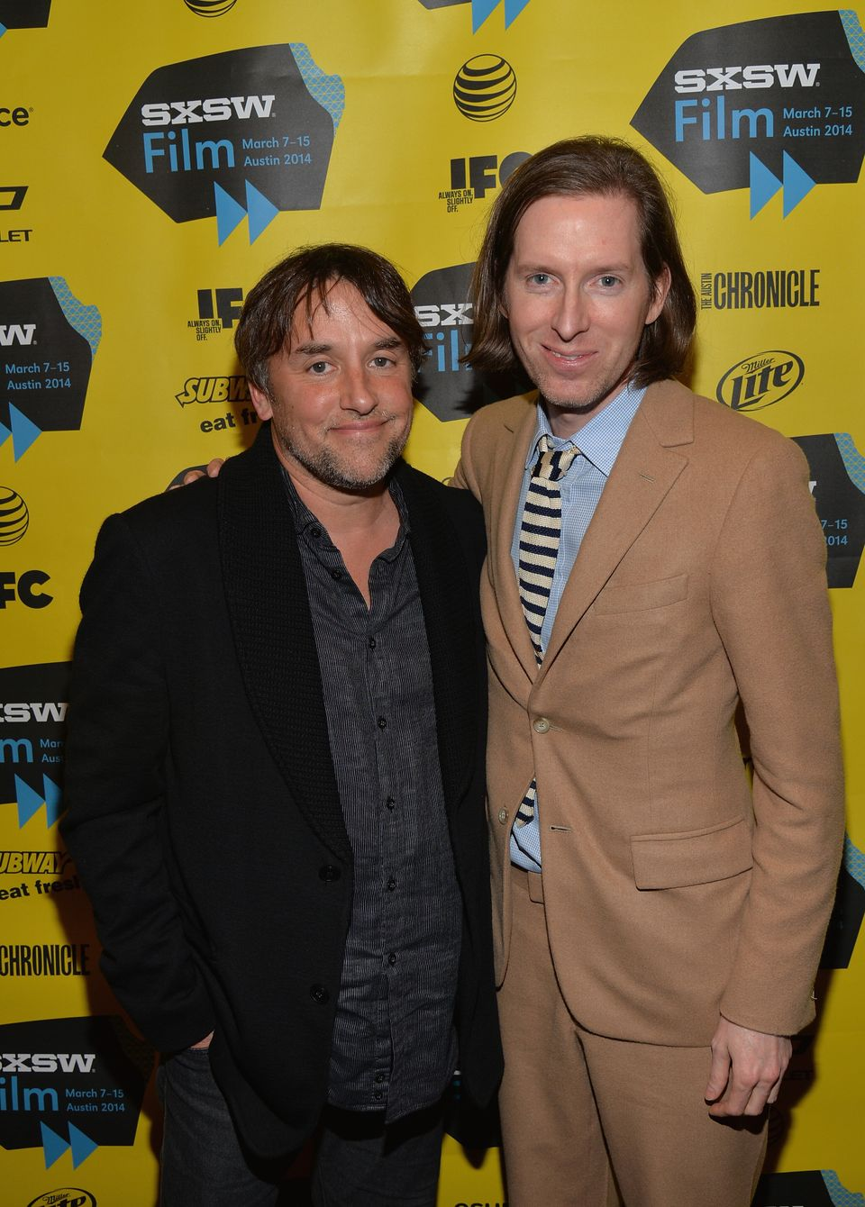 AUSTIN, TX - MARCH 10:  Directors Richard Linklater (L) and Wes Anderson attend the screening of 'Grand Budapest Hotel' durin