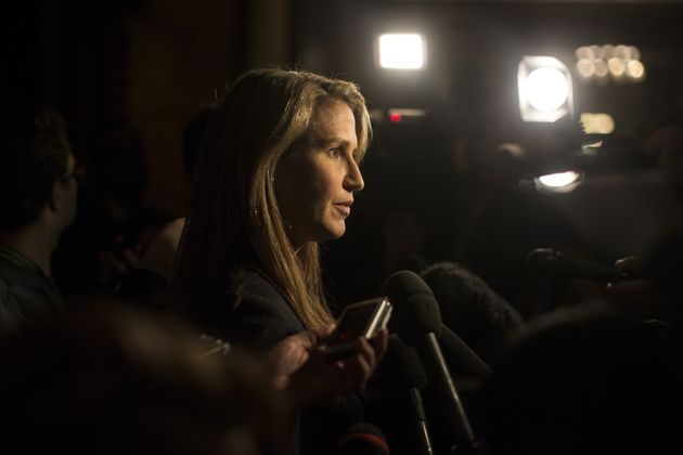 Ontario's Attorney General Caroline Mulroney speaks to journalists at Queen's Park in Toronto on March 26, 2019.