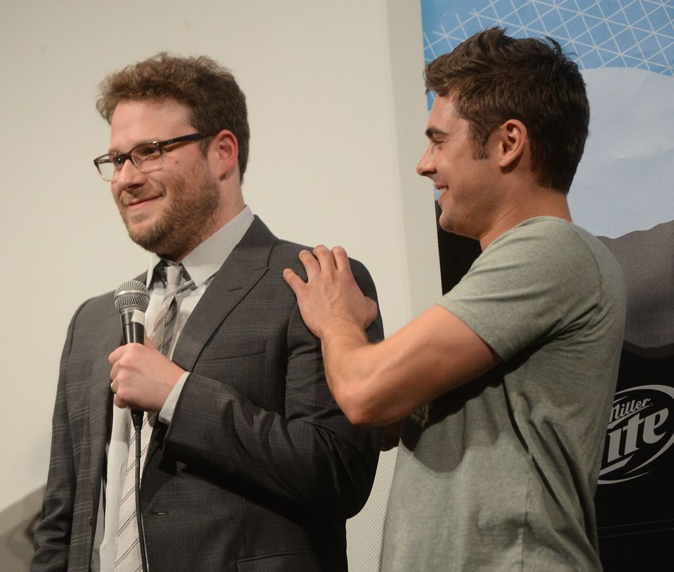 AUSTIN, TX - MARCH 08:  Actor Seth Rogan (L) and actor Zac Efron arrives at the premiere of 'Neighbors' during the 2014 SXSW