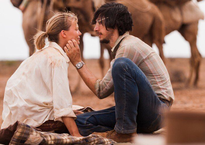 """Mia Wasikowska and """"Girls"""" favorite Adam Driver star in this true-life drama about a young woman who walked 1700 miles across"""