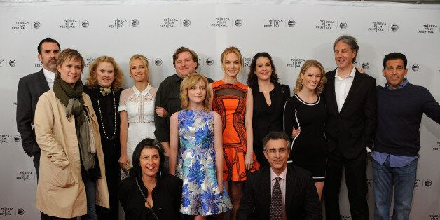 NEW YORK, NY - APRIL 17:  (Back row, L-R) Paul Schneider, Celia Weston, Anna Camp, Michael Chernus, Heather Graham, Melanie L