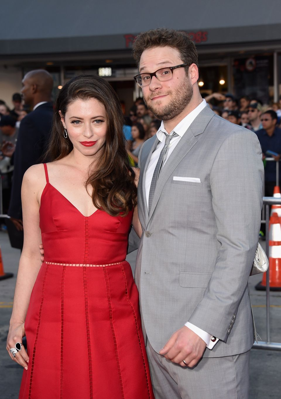 WESTWOOD, CA - APRIL 28:  Actor/producer Seth Rogen (R) and Lauren Miller attend Universal Pictures' 'Neighbors' premiere at