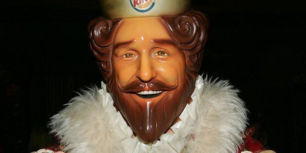 DETROIT - FEBRUARY 3:  Burger King mascot, The King poses in the green room during the 'Jimmy Kimmel Live' Show at Super Bowl