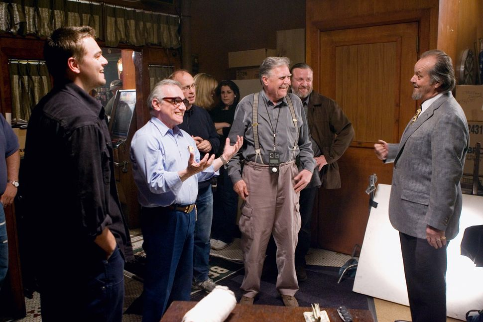"Scorsese on the set of ""The Departed"" with Leonardo DiCaprio, Michael Ballhaus, Ray Winstone and Jack Nicholson."
