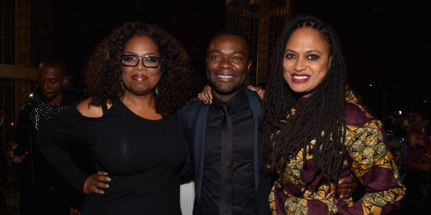 HOLLYWOOD, CA - NOVEMBER 11:  (L-R) Producer/actress Oprah Winfrey, actor David Oyelowo, and director Ava DuVernay attend the