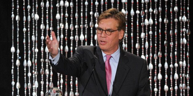 """Writer/Executive Producer Aaron Sorkin accepts the Academy Honor award for """"The Newsroom"""" onstage at the Academy of Televisio"""