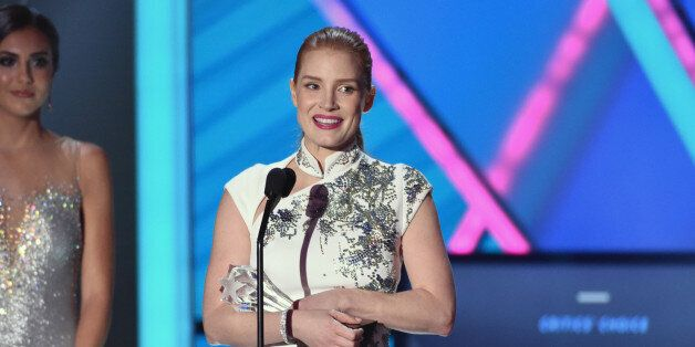 Jessica Chastain accepts the Critics' Choice MVP award at the 20th annual Critics' Choice Movie Awards at the Hollywood Pal
