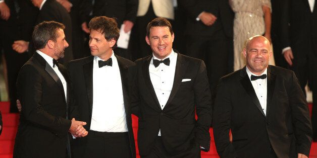 From left, Steve Carell, Bennett Miller, Channing Tatum and Mark Schultz depart the screening of Foxcatcher at the 67th inter